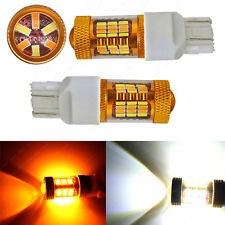 2x 7443 7440 T20 LED Turn Signal Switchback DRL Light Bulbs White/Amber 54-SMD