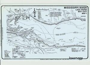 Vintage Lakemaps Waterproof Plastic Map - Mississippi River Lake Pepin Bay City