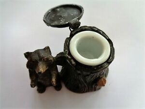 Vintage Bear & Tree Stump with Ceramic Pot Inkwell