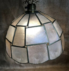 capiz shell dome lampshade Pendant Shade abstract rectangle Shell Panels Brass