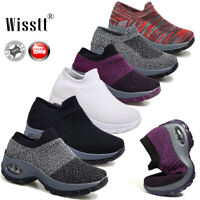 Women Air Cushion Sock Sneakers Breathable Mesh Walking Slip-On Running Shoes AU