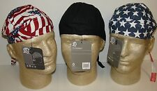 Lot Set 3 American Flag and Black Set Stars & Stripes Doo Rag Headwrap Cap Biker
