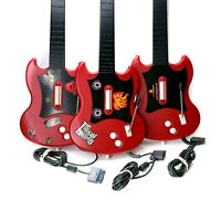 Lot of (3) PlayStation 2 Guitar Hero Red Octane PSLGH Wired Guitars Tested READ
