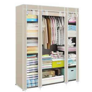 Fabric Canvas Wardrobe Storage Cupboard With Hanging Rail Shelving Clothes Cover