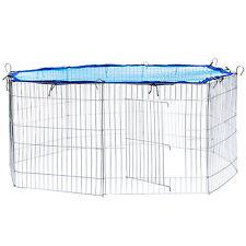 Enclos avec filet de protection extérieur cage à lapin parc petits animaux bleu