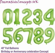 """40"""" Metalic LIME GREEN Giant Foil Number Balloons Party Decorations Birthday Age"""