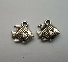 30 pcs Tibetan silver fish charms pendant 12x12 mm