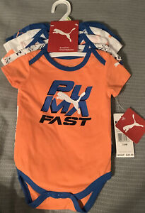 Puma 5 Pack Infant Body Suits Size 3-6 Month Orange And Blue