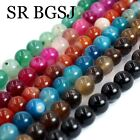 """6 8 10 12mm Round Smooth Surface Gemstone Banded Agate Jewelry Beads Strand 15"""""""