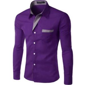 Formal Business Men Slim Shirts Fashion Colorful Long Sleeve Lapel Tops Blouse