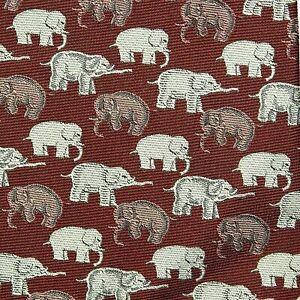 ROBERT TALBOTT Carmel Pebble Beach Men's X-Long Necktie Burgundy Elephants USA