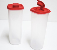 Two Tupperware Store & Pour Slim Pitchers ~ Clear Square Bases & Red Seals New