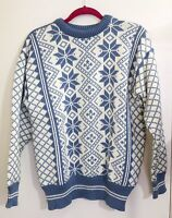 Dale of Norway Pure Wool Blue Snowflake Christmas Women's Sweater -Medium