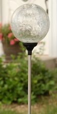 """Solar 3.5"""" Clear Ball,7 color changing Crackle Glass Globe garden Lawn LED Light"""