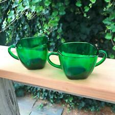 "2.5"" Vintage Anchor Hocking Emerald Green Sugar Bowl & Creamer Mid Century Set"
