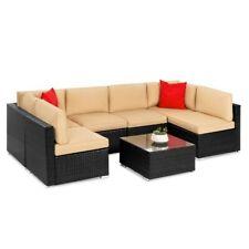 7-Piece Modular Outdoor Patio Furniture Set, Wicker Sectional Sofas