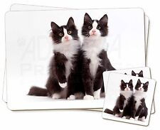 Two Black and White Cats Twin 2x Placemats+2x Coasters Set in Gift Box, AC-127PC