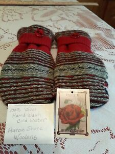 SWEATER MITTENS HANDMADE Of Recycled WOOL Sweaters with New FLEECE LINING Red