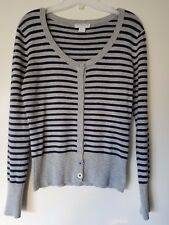 Cotton On Blue & Gray Stripe Button Up Long Sleeve Cardigan Sweater Size Large