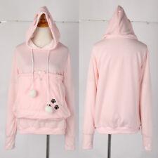 Unisex Cat Ear Big Kangaroo Pouch Hoodie Long Sleeve Pet Carrier Sweatshirt