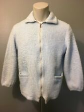 Vtg 50s 60s Ladies Blue Fuzzy Fleece Zip Up Rockabilly Ski Jacket Womens L-Xl