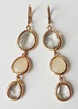 Chandelier Ohrhänger Ohrringe Strass Acryl Tropfen oval grau klar opal gold