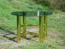 Vintage Mid Century Modern Hollywood Regency Brass & Glass Coffee End Table MCM