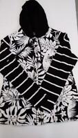 Susan Graver Weekend Printed French Terry Zip Front Hooded Jacket (Black, XS)