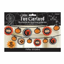 Black & Orange Glittered Fan Garland - 3.65m - Spooky Halloween Party Decoration