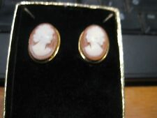 vermeil bezels, oval15 X19 mm New listing Cameo Clip Earrings, Nos Gold