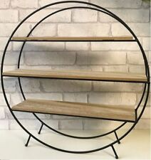 VINTAGE 3 SECTION ROUND FREE STANDING BOOK CASE UNIT METAL WOOD DISPLAY SHELF