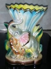 VINTAGE TIGER ATTACKING ELEPHANT VASE RARE NICE !!!