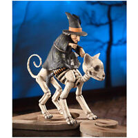 "Bethany Lowe 16"" Witch Riding Skeleton Cat Retro Vntg Halloween Decor Figurine"
