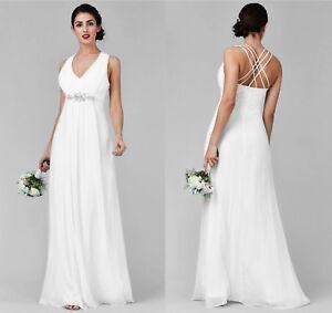 Brautkleid Hochzeitskleid Empire A-Linie Elfenbein Weiss Strass 36 38 40 42 44