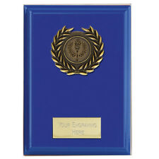 W611BX X 16 BLUE WOOD PLAQUES WITH METAL TRIM SIZE 12.5 CM  FREE ENGRAVING