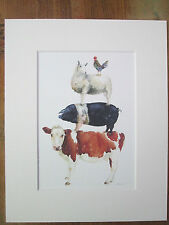 """Cow, sheep, pig, chicken watercolour  print, in 10"""" x 8"""" Mount"""