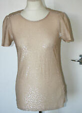 Oasis XS Uk6-8 Eu34-36 Gold Sparkly Stretch Short Sleeve Plain Back Top
