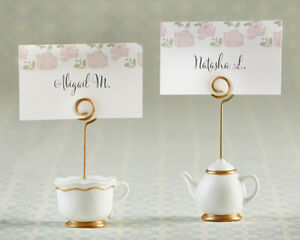 6 Tea Party Place Card Holders Teapot Teacup Bridal Shower Table Decor MW36765
