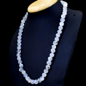Edelsteinkette Schwarz Whitequarz 50cm Collier Halskette 10 mm Perle