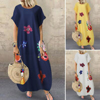 Womens Summer Short Sleeve Sundress Floral Printed Kaftan Baggy Long Maxi Dress