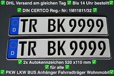 2x Kennzeichen ?? 520x110mm ?? Nummernschilder ?? Autokennzeichen ?? TOP Preis????