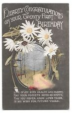 "Vintage ""Hearty Congratulations on Your 21st Birthday"" Card, Early 20th c"