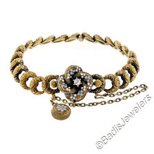 Antique Victorian 14K Yellow Gold Diamond Enamel Repoussé Crescent Link Bracelet