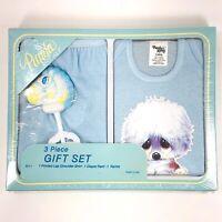 Vintage Baby Gift Set 6 MOS Puppy Printed Lap Shoulder Shirt Diaper Pants Rattle
