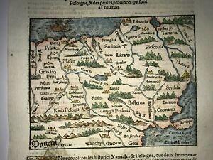 POLAND 1568 SEBASTIAN MUNSTER ANTIQUE WOOD ENGRAVED MAP 16TH CENTURY