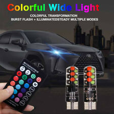 T10 COB RGB Color Bulb Canbus Car Wedge Side Light LED Lamp w/ Remote Controller