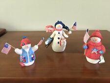 Hallmark Set of 3 Patriotic Snowman Figurines
