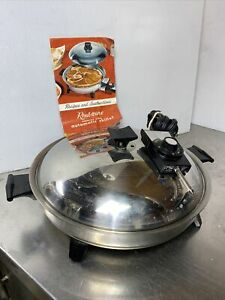"""Vintage RENA WARE 7100E Huge 13 3/4"""" Electric Skillet Oil Core Stainless Steel"""
