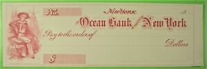 Unused Bank Check, Vignette of Sailor, Ocean Bank of the city of New York. 18__