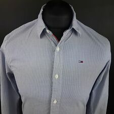 Tommy Hilfiger Mens Shirt XS Long Sleeve Blue SLIM FIT Striped Cotton